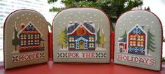 Christmas village cross stitch ornaments