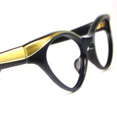 34c8c9afe9e Items similar to Vintage 1950s Black and Gold Winged Cat Eye Glasses Frame  NOS Vintage High Rx Prescription Optical Frame NOS 48 18 on Etsy