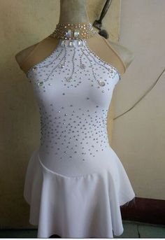 white ice skating dress for competition custom figure skating dresses women #yike
