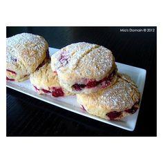 Raspberry Stuffed Lemon Scones ❤ liked on Polyvore featuring food