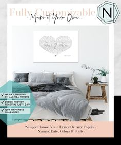 First Second Sixth Anniversary Gift? Your Wedding Date + First Dance Song Lyrics In A Custom Printed Heart On Luxury Cotton Canvas Perfect Gift For Him, Gifts For Him, Custom Canvas Prints, Art Prints, Beautiful Modern Homes, Thing 1, First Dance Songs, Home Decor Items, Canvas Frame
