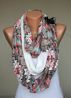 tribal infinity scarf by fashioncesa on Etsy, $19.90