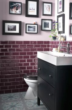 Who says a small bathroom can't be stylish? This HEMNES black brown sink cabinet with 2 drawers adds a touch of traditional style and helps store anything you need nearby. Maroon Bathroom, Purple Bathrooms, Bathroom Colors, Small Bathroom, Master Bathroom, Ikea Bathroom, Burgundy Bathroom, Plum Bathroom, Bathroom Cabinets