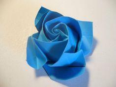 Origami Rose Anleitung blau