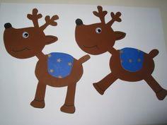 Weihnachtsbasteln - Rentiere aus Pappe ausgeschnitten