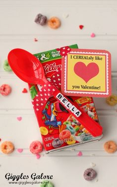 Cereal Valentines Day...how cute from Giggles Galore