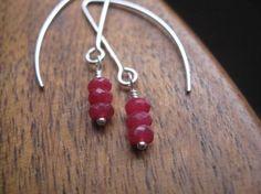 red ruby earrings in sterling silver sterling silver by Splurge,