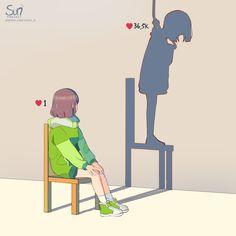 Dark Art Illustrations, Illustration Art, Sad Anime, Anime Art, Drawings With Meaning, Sun Projects, Anime Undertale, Deep Art, Sad Pictures