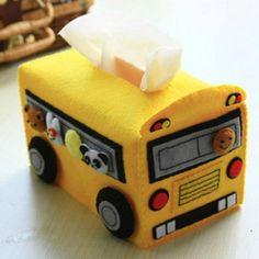 Felt school bus tissue box e-Pattern from ellediy. What a neat bus driver or teacher gift! Tissue Box Holder, Tissue Box Covers, Tissue Boxes, Felted Wool Crafts, Felt Crafts, Crafts For Girls, Diy For Girls, Tissue Box Crafts, Bus Crafts