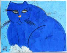 Artist: Walasse Ting, Chinese/American (1929 - 2010)  Title: Blue Cat  Year: circa 1981  Medium: Acrylic on Rice Paper