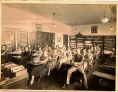 Old Vintage Antique Photograph High School Classroom Students At Desks