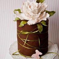 Chocolate cake with peony sugar flower by Ara Galetes