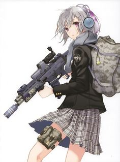 headphones skirts weapons Fuyuno Haruaki assault rifle purple eyes simple background anime girls backpacks ACR