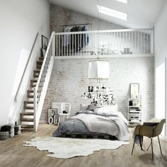 white wash, brick wall, loft, cow rug, chair, photo bedhead Stryntrappa's 3D campaign   emmas designblogg