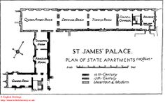 St James' Palace plan of the State Apartments (first floor). St James's Palace, Palace London, Modern Residential Architecture, Architecture Plan, Clarence House, History Online, Royal Residence, English Heritage, Grand Homes