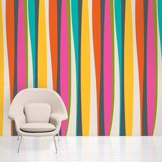French Bull Kiss Striped Removable Wallpaper Half Kit - WallCandy Arts