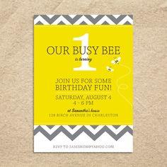 1st Birthday Party Invitation Chevron Bee By Helloyellowdesign 1500
