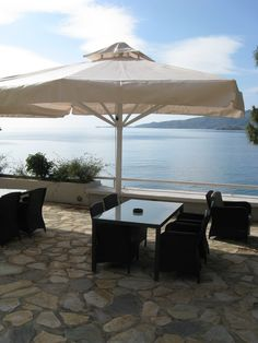 Golden View Beach Hotel at Poros Island. More info at www. Area Restaurants, Cafe Bar, Beach Hotels, Greece, Patio, Island, Outdoor Decor, Home Decor, Greece Country
