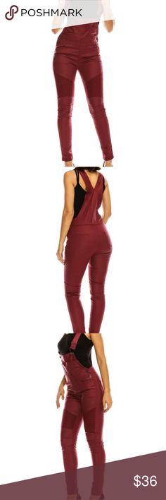 """*PLUS SIZE- Women's Moto Overalls BURGUNDY color women's Moto Style Wax Denim Material. These overalls are plus sizing.  *Regular fit w/tapered ankle.  *Distress knee  (Moto style).  *98% Cotton w/ 2% Spandex for optimal fit & wearability.  No fading or shrinking to these overalls.   *Wax Material- has a slight shine & has a """"waxy"""" feel to them. Jeans Overalls"""