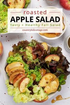 See how to make honey roasted apple salad! You can prepare this easy savory apple salad with salad greens (arugula, kale, lettuce) and firm baking apples (like Honeycrisp, Fuji, Granny Smith). The healthy fall salad recipe includes tips for variations (chicken, bacon, feta, goat cheese, blue cheese), extra veggies (beet, celery, fennel, Brussel sprouts) and toppings like candied pecans, walnuts, cranberries or quinoa. A delicious way to use your autumn apple harvest! | CountryHillCottage.com Fall Salad, Beet Salad, Roasted Apples, Baked Apples, Blue Cheese, Goat Cheese, Healthy Cooking, Healthy Recipes, Apple Salad Recipes