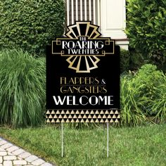 Roaring Welcome Sign - Art Deco Jazz Party Outdoor Lawn Decorations - Twenties Party Decorations - Great Gatsby Party Theme Roaring Twenties Party, Roaring 20s Birthday Party, Roaring 20s Wedding, 1920s Wedding, 20th Birthday, Gangster Wedding, Roaring 20s Theme, Birthday Ideas, Birthday Weekend