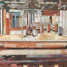 Métro #29 - Peinture,  14x14 cm ©2016 par Le Frigo (GONIN SOJAC) -                                                            Art figuratif, Papier, Paysage urbain, gonin, sojac, le  frigo