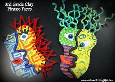 Art Room 104: Clay Picasso Faces. Love the pipe cleaners