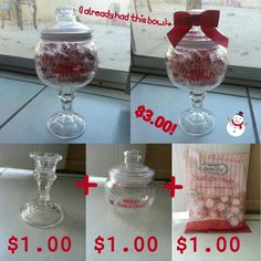 Diy Christmas candy jar! Simple and easy, you just glue the candle holder to the Christmas jar with glue! All from the Dollar Tree! :D