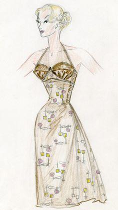 Original 1950s vintage jantzen swimsuit skirt fashion sketch Vintage Fashion Sketches, Fashion Drawings, Design Illustrations, Fashion Illustrations, Fashion Swimsuits, Edith Head, Barbie Model, Hayden Williams, Vintage Swimsuits