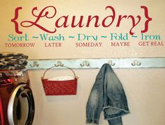 Laundry Sign Sort Wash Dry Fold Iron Laundry Room Mud Room Vinyl Wall Decal Sticker on Etsy, $36.95