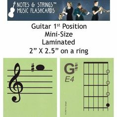 """Notes & Strings Guitar 1st Position 2""""X2.5"""" Mini-On-A-Ring Size Laminated Flashcards by Notes & Strings. $15.98. The mission of Notes & Strings is excellence in providing quality music education products to music students around the world. Notes & Strings Music Flashcards are very popular with music teachers, music students, and music stores. These flashcards help make the learning of music easy and fun. Deborah Spiegel, a Suzuki violin teacher, designed these..."""