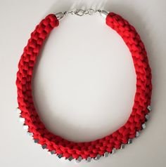 Fabric and metal knotted necklace Textile necklace by KnotMyself