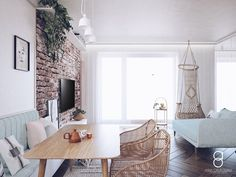 Pastel living room interior Pastel Living Room, Living Room Interior, Entryway Bench, Anna, Furniture, Home Decor, Entry Bench, Hall Bench, Decoration Home