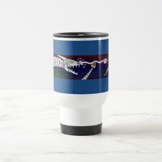Fending Off the Cyberdragon Travel Mug.  Sunday Steal: 50% off luggage tags, travel mugs & more! USE CODE: ZSUNSTEAL163 Offer is valid through January 22, 2017 11:59PM PT.  #zazzle #travel_mug #cyberdragon #robotic_dragon #dragon #wizard #sorcerer