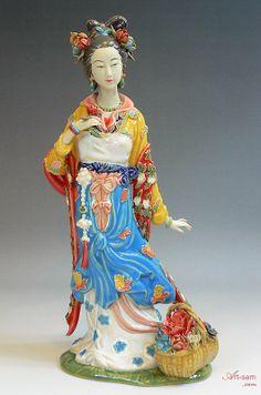 Dream of the Red Chamber - Chinese Ceramic Lady Figurine -Shiwan : Art-sam.com