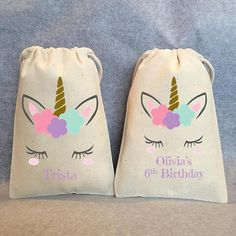 PLEASE BE SURE TO READ OUR SHOP ANNOUNCEMENT PAGE FOR ANY PERTINENT INFORMATION REGARDING ORDERS. THANK YOU! https://www.etsy.com/shop/owlwaysremember You will receive: Unicorn head party favor bags HAVE ANY BOYS COMING TO THE PARTY? SEE THE 2ND PHOTO FOR A GREAT ALTERNATIVE FOR THE