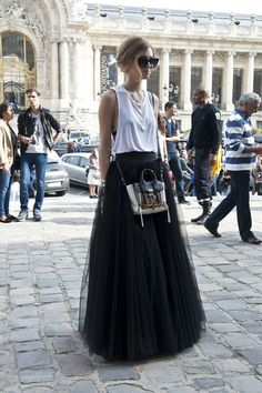 Chiara Ferragni in a white top, a maxi skirt and 3.1 Phillip Lim bag @ Paris #fashionweek Spring 2014 fashion shows
