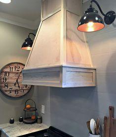 A DIY(ish) Wood Vent Hood | Thrifty Decor Chick Cabinet Furniture, Furniture Design, Home Pub, Thrifty Decor Chick, Vent Hood, White Cabinets, Open Shelving, Wood Wall, Bar Stools