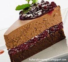 Čokoladna rapsodija Sastojci: Biskvit: 1 čaša smeđeg šećera 1/2 čaše oštrog brašna 1/2 čaše glatkog brašna 1 kašika praška za pecivo...