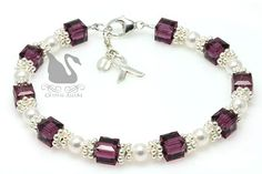 Purple Swarovski Crystal Pearl Cystic Fibrosis Awareness Bracelet (B166) by Crystal Allure