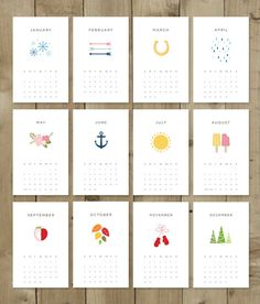 PRINT & CUT    These are the only two steps to enjoying a beautifully simple calendar for 2015. Hang it on your own wall, give as a fun and functional