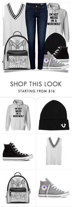 """""""School Style"""" by madeinmalaysia ❤ liked on Polyvore featuring True Religion, Converse and Anine Bing"""
