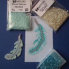 #Miyuki - Nouvelle petite plume, deux tons de turquoise et argent. Diagramme gratuit sur…