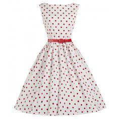 LINDY BOP  'AUDREY' WHITE POLKA DOT VINTAGE 1950's SWING DRESS