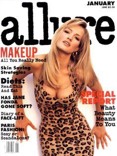 Karen Mulder cover for US Allure January 1992 by Sante D'Orazio
