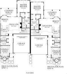 duplex floor plans... love the back, sep decks