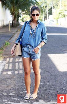jean shirt and shorts