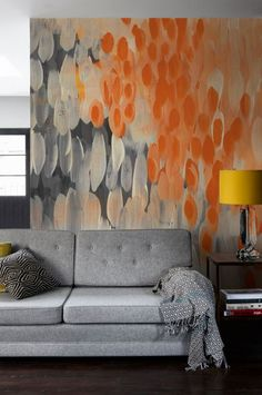 'Abstract Oranges' Mural  - Maximalist edit from £195 | Shop Cushions & Wall Murals at surfaceview.co.uk