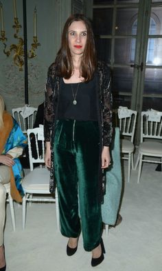 Monaco royal Tatiana Casiraghi was on trend in velvet trousers during the Giambattista Valli Haute Couture show in Paris.