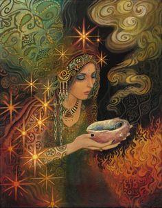 Sage Goddess Gypsy Pagan Witch Psychedelic Goddess Art 8x10 Print